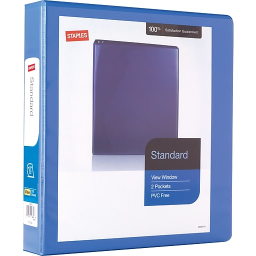 staples standard 1 5 inch d 3 ring view binder periwinkle 26441 cc