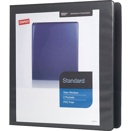 1 1 2 staples standard view binder with d rings black staples