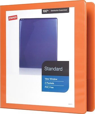 Staples Standard 1.5-Inch D 3-Ring View Binder, Bright Orange (26442-CC)