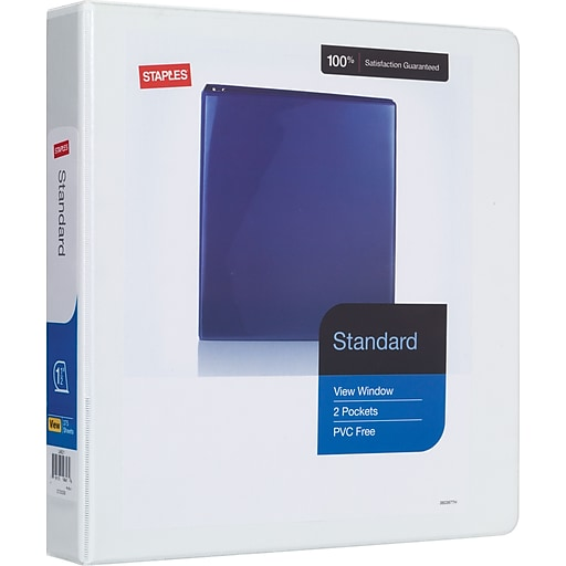1 1 2 staples standard view binder with d rings white staples