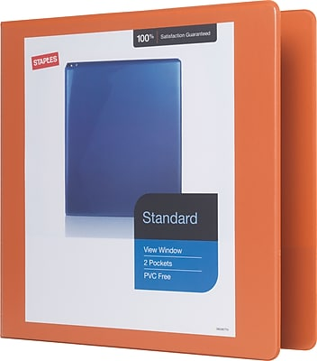 Staples Standard 2-Inch D-Ring View Binder, Bright Orange (26446-CC)