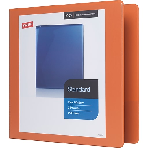 staples standard 2 inch d ring view binder bright orange 26446 cc