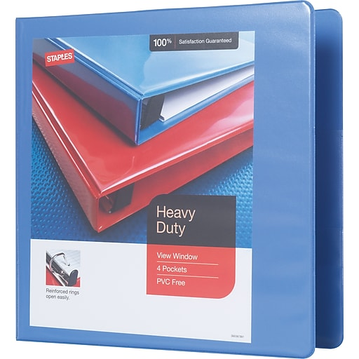 staples heavy duty 2 inch d 3 ring binder periwinkle 24689 us