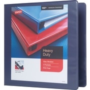 "2"" Staples® Heavy-Duty View Binder with D-Rings, Blue"