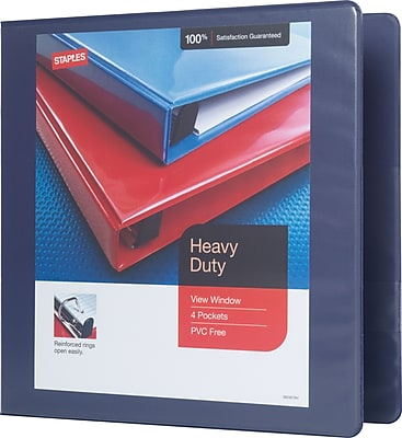 Staples® Heavy-Duty View Binder with D-Rings, Blue, 500 Sheet Capacity, 2