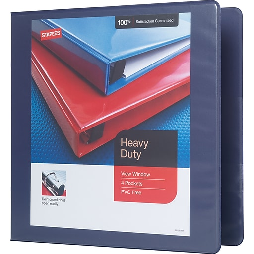 2 staples heavy duty view binder with d rings blue staples