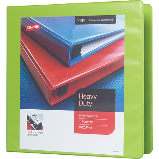 2 staples heavy duty view binder with d rings chartreuse staples