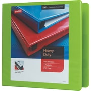"3"" Staples® Heavy-Duty View Binder with D-Rings, Chartreuse"