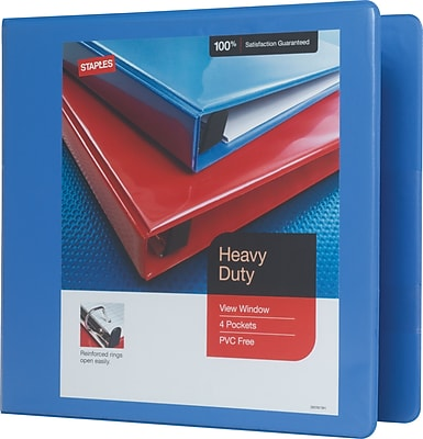 Staples® Heavy-Duty View Binder with D-Rings, Periwinkle, 650 Sheet Capacity, 3