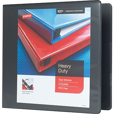 Staples® Heavy-Duty View Binder with D-Rings, 3
