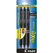 Pilot FriXion Ball Clicker Erasable Retractable Gel-Ink Pens, Fine Point (0.7mm), Black, 3/Pk (31464)