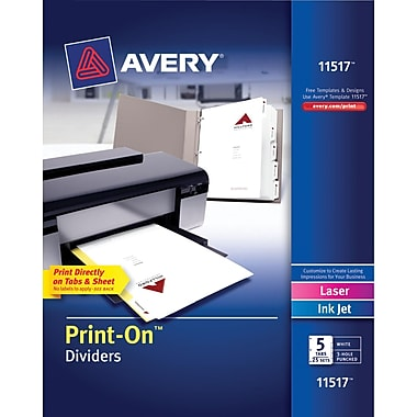 Avery® 11517 Print-On™ Divider, White, 5 Tab, 25/Box