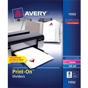 "Avery® Print-On™ 8-Tab Dividers, White, 8 1/2"" x 11"", 5 Sets/Pack"