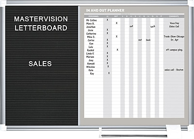 MasterVision® In-Out Magnetic Dry Erase/Letter Board 24x36, Alum.
