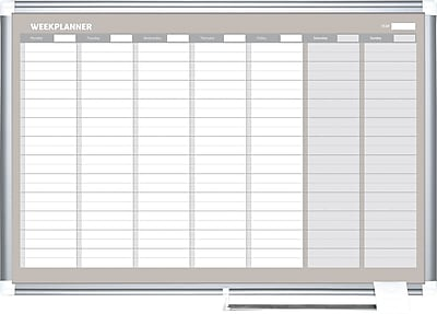 MasterVision® Magnetic Weekly Planner 24x36, Alum.