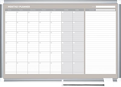 MasterVision® Magnetic Monthly Planner 24x36, Alum.