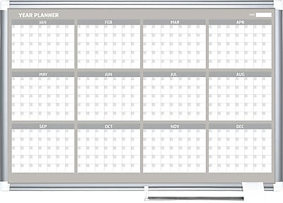MasterVision® Magnetic 12 Month Planner Trad. Format 24x36, Alum.
