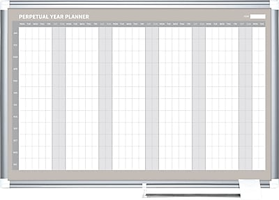 MasterVision® Magnetic Yearly Planner 36x48, Alum.