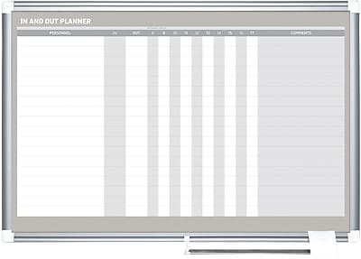 MasterVision® In/Out 17 Row Planner Magnetic 35.4x23.6, Alum. Horizontal