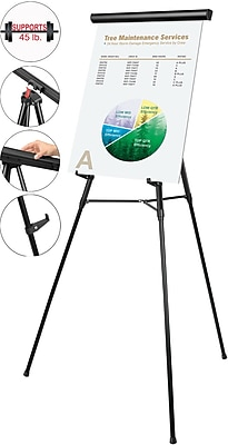 MasterVision® 3-Leg Heavy-Duty Telescoping Display Easel, Black, 38-69