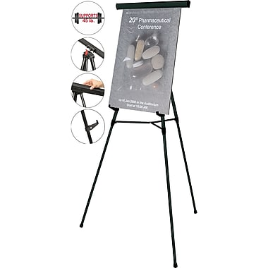 MasterVision® 3-Leg Lightweight Telescoping Display Easel, Black