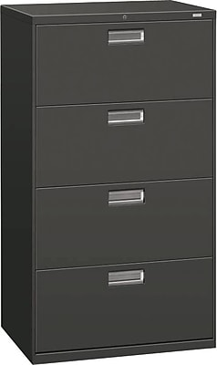 HON® Brigade® 600 Series 4 Drawer Lateral File Cabinet, Charcoal, 30