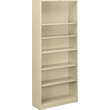 HON Brigade Bookcase, Putty, 6-Shelf, 81 1/8