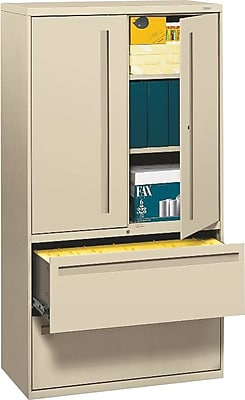 HON® 700 Series 2 Drawer Lateral File Cabinet w/Roll-Out & Posting Shelves, Putty, Letter/Legal, 36