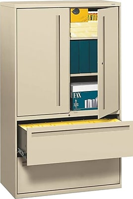 HON® 700 Series 2 Drawer Lateral File Cabinet w/Roll-Out & Posting Shelves, Putty, Letter/Legal, 42