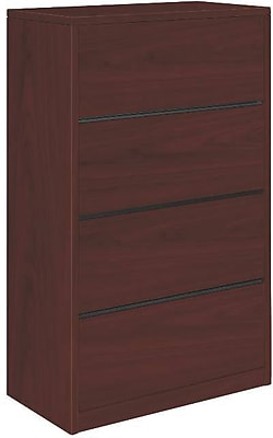 HON 10500 Series 4 Drawer Lateral File Cabinet, Mahogany Finish, 36
