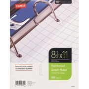 "Staples® Reinforced Filler Paper, Graph Ruled, 4x4, 8-1/2"" x 11"""