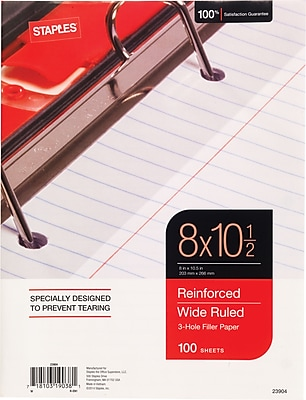 Staples Reinforced Filler Paper, Wide Ruled, 8