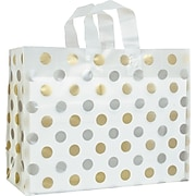 """Staples Clear Frosted High Density Shopper 250/Case 16""""L x 6""""W x 12""""H (268160612)"""