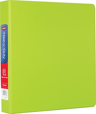 "Staples® Heavy-Duty Binder with D-Rings, Chartreuse, 350 Sheet Capacity, 1-1/2"" Ring"