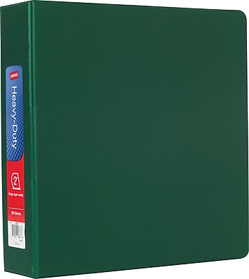 Staples Heavy-Duty 2-Inch D-Ring Nonview Binder, Green (24657-US)