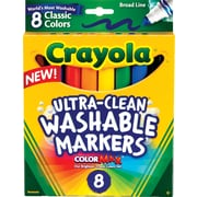 Crayola® Classic Washable Markers, Broad Line, Assorted Colors, 8/Box