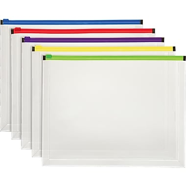Staples® Poly Zip Envelope, Letter, Assorted