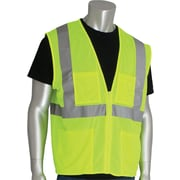 PIP Hi-Vis Safety Vest, ANSI Class 3, Zipper Closure, Lime Yellow, 4XL