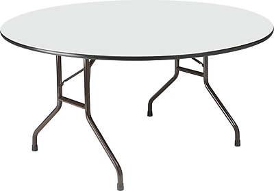 Round Wood Folding Table, Gray, 60