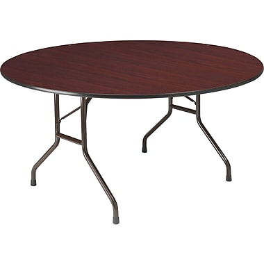 Round Wood Folding Table, Mahogany, 60