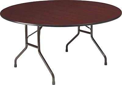 Round Wood Folding Table, Mahogany, 60