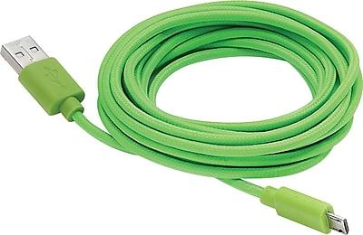 Aduro Fiber Cloth Sync & Charge 10' Micro USB Cable, Green