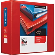 Staples Heavy-Duty 4-Inch D 3-Ring View Binder, Red (24698-US)