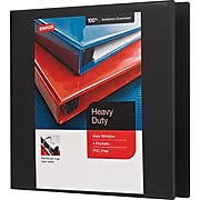 "Staples 4-Pocket Heavy Duty 3"" 3-Ring View Binders, Black, 4/Pack (56234CT/24690CT)"