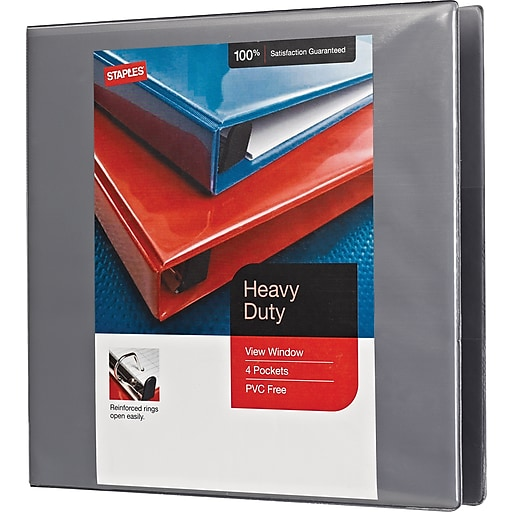 2 staples heavy duty view binders with d rings gray staples