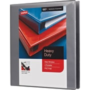 "1"" Staples® Heavy-Duty View Binder with D-Rings, Gray"