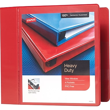 Staples Heavy-Duty 5-Inch Slant D 3-Ring View Binder, Red (24702-US)