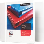 "Staples® Heavy-Duty View Binder with D-Rings, 5"", White"