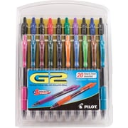 Pilot G2 Premium Retractable Gel Roller Pens, Fine Point, Assorted, 20/Pack (31294)