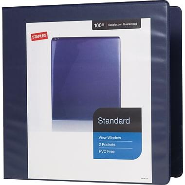 Staples® – Reliure de présentation standard à anneaux en D, 3 po, bleu